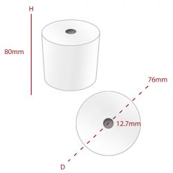 Thermal 80 x 76 mm Roll (TH032) - Box of 20